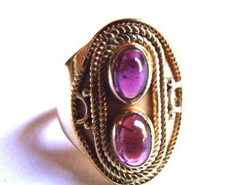 Signature Series! Amethyst 24 Kt Gold Vermeil Silver Ring. Size 6.5. COANM©2016