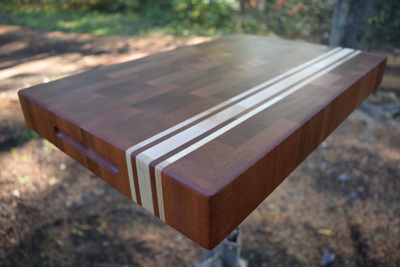 End Grain Cutting Board Maple Mahogany Mix Butcher Block