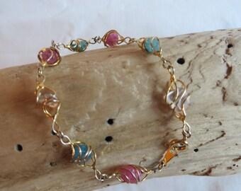 """8 1/4"""" Avon Gold Gem Basket Bracelet or Anklet, Bracelet, Anklet, Avon, Gem, Basket"""