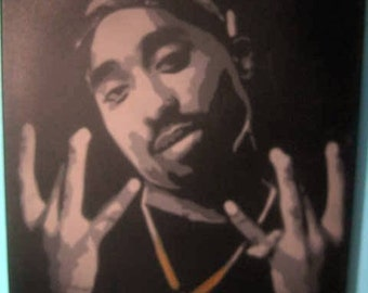 Tupac Stencil Painting by Beau Pope - Hip Hop Portrait