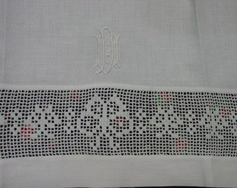 "Sweet Vintage Tea or Guest Towel, White, Filet Crochet and Monogram 14 x 24"""