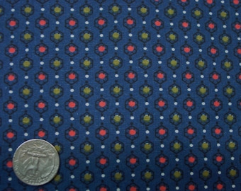 "Nice Vintage Cotton Fabric, Navy with Small Print, 2 Yards, 35"" Wide, Quilting, Crafts"