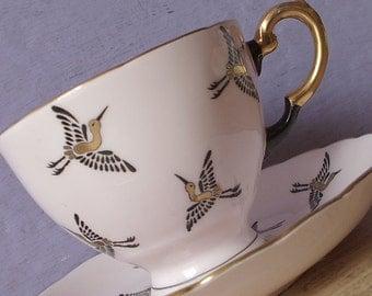 Vintage 1950's Bird teacup and saucer, Tuscan Cranes teacup, Pale pink teacup, English tea cup, bone china teacup, black gold birds cup