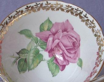 Vintage Large Pink Rose teacup and saucer, Collingwood teacup, English rose tea cup, Bone china teacup, English tea cup, antique teacup