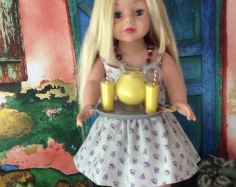 Custom Couture Sundress for 18 Inch Dolls OOAK, Constructed Using a Liberty Jane Pattern and Handmade Necklace