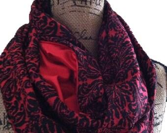 Passport travel scarf with hidden pocket, secret pocket scarf, infinity scarf with bidden pocket, travel scarf, zippered pocket scarf