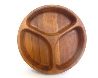 Vintage Dansk teak divided bowl / serving tray, Dansk International Designs, Jens Quistgaard