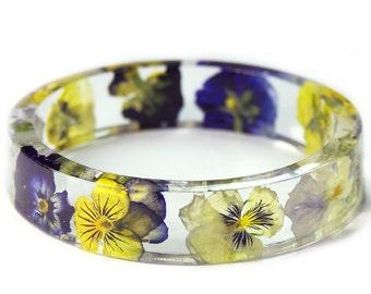 Viola Flower Bracelet - Blue Bracelet- Purple Flower Jewelry- Resin Jewelry- Flower Bangle- Purple Flower Bracelet- Yellow Jewelry