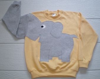 Light yellow Childrens Elephant Trunk sleeve sweatshirt,  sweater, elephant jumper, KIDS, small or medium ONLY Special Deal