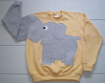 Light yellow Childrens Elephant Trunk sleeve sweatshirt,  sweater, elephant jumper, KIDS, medium ONLY Special Deal