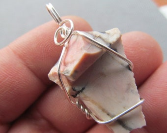 Opal Silver Wire Wrapped Pendant  6507