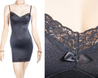 Seductive slinky stretchy ultra soft clingy classic black polyamide and delicate matching lace detail 1990's vintage full slip - 3639