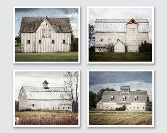 Modern Farmhouse Decor Rustic Country Wall Art, Barn Photography Set, Fixer Upper Style Wall Decor Set of 4, Rustic Home Decor Shabby Chic.