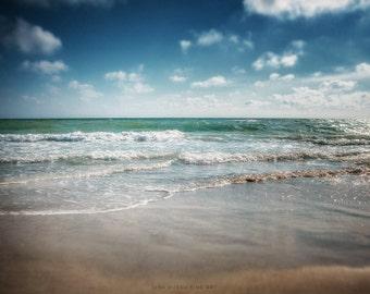 Beach Decor, Beach Print or Canvas Wrap, Beach Landscape Photograph, Dramatic Seascape, Nautical, Teal, Indigo, Slate, Aqua, Sea, Ocean.