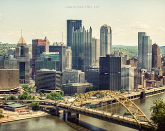 Pittsburgh Skyline Print or Canvas Wrap, Pittsburgh Photography, Steelers, Steel City, Fort Pitt Bridge, Pennsylvania Photograph.