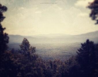 Vermont Landscape Print or Canvas Wrap, Bromley Mountain Vermont, Olive Sage Green, Dark Green Soft Blue Evergreen, Woodland Mountains.