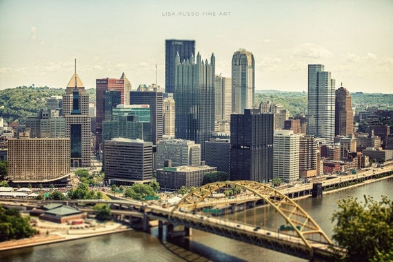 Pittsburgh Skyline Print or Canvas Wrap, Pittsburgh Photography, Steelers, Steel City, Fort Pitt Bridge, Pennsylvania Photograph.