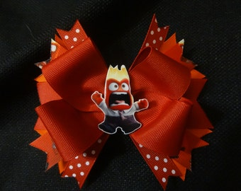 Inside out inspired bow, 5 inch anger hairbow
