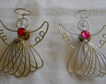 Angel Pin, gold tone or silver tone, red or pink