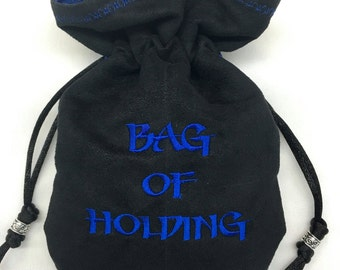 BAG OF HOLDING - Faux Suede Machine-Embroidered Pouch for Dice, Runes, Tarot Cards