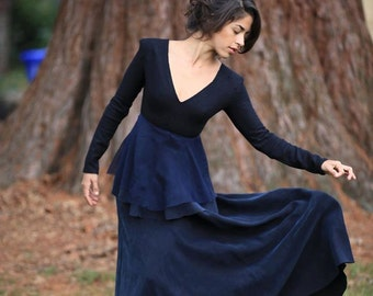 Indigo blue flowy gown with high quality wool structured bodice