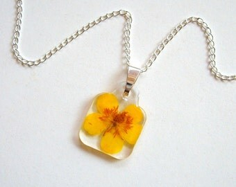 Yellow Buttercup - Real Flower Garden Necklace - botanic jewelry, pressed flower, flower necklace, yellow, Summer necklace, natural, ooak