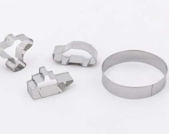 4 pieces Stainless Steel Cookie Cutter Set. Ship, Airplane, Car, Round Biscuit Cutter
