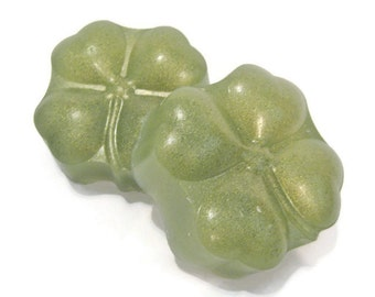Four Leaf Clover Soap. Green and Gold, Saint Patrick's Day, Ides of March, lucky clover,  wish, ginger ale