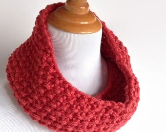 Red Knit Neckwarmer, Red Knit Scarf, Knit Infinity Scarf, Knit Womens Neckwarmer, Mobius Scarf, Womens Neckwarmer, Womens Red Neckwarmer