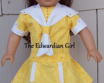 Flash Sale! Two of a kind yellow and white nautical Edwardian doll dresses. Fits 18 inch play dolls such as American Girl. Made in USA