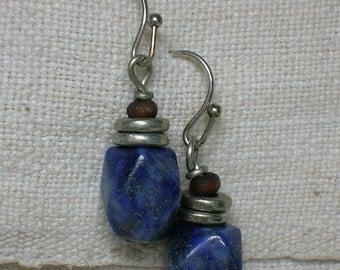 Lapis & Silver Earrings. 925. Ethnic Boho Tribal Minimalist. Calcite, Pyrite Inclusions