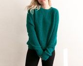 90s Teal Chunky Knit Sweater / Grunge Grandpa Sweater Oversized Slouchy / Knit Jumper Green Blue Turquoise / Loose Pullover Soft Unisex