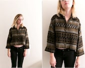 Softest Tribal Boxy Collared Cardigan / Cuffed Ethnic Patterned Sweater / Printed 80s Retro Knit Coat / Button Up Bohemian Boho Soft