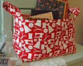 Fabric Basket w/ Sewing motif/ Fabric Sewing Basket/ sewing room decor/ gift basket/ Red and White Sewing Fabric