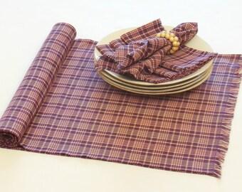 Plaid Table Runner, Mulberry Purple Table Runner, Table Decor
