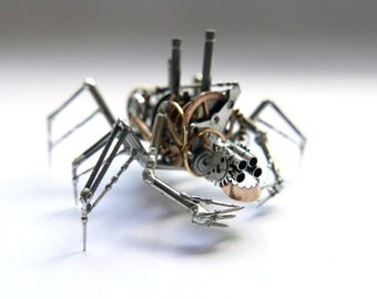 "Mechanical Arthropod ""Splicer"" Recycled Watch Parts Spider Justin Gershenson-Gates Watch Faces Stems Gears Arthropod Clockwork Robot Insect"