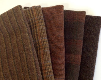 Deep Brown Textures, Wool Fabric for Rug Hooking and Applique, 5 pieces, Select a Size, W190
