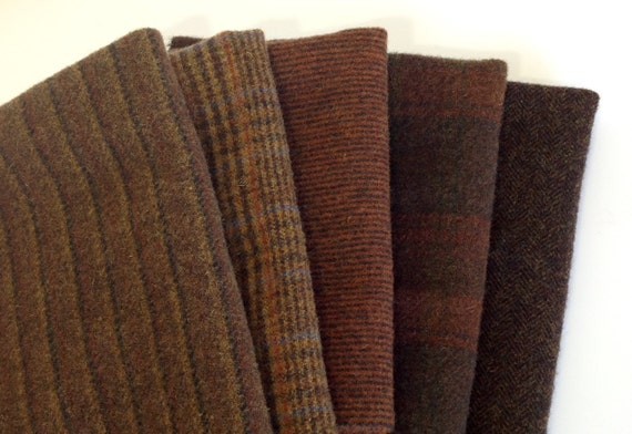 Deep Brown Textures, Wool Fabric for Rug Hooking and Applique, 5 pieces, Select a Size, W190, Only One Left