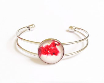 Silver plated bracelet, glass cabochon red flower bangle, christmas gift for teacher, floral jewelry, secret santa gift for work colleague