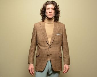 mens vintage sport coat 70s plaid houndstooth cashmere sport jacket 1970 menswear Hart Schaffner Marx Gold Trumpeter 40-42R