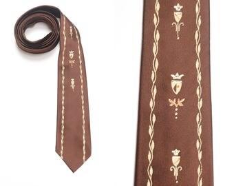 vintage 40s 50s tie men necktie 1940 1950 menswear Pilgrim Cravats Charmeuse Satin France royal regal crest brown tie