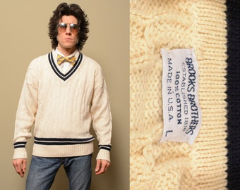 vintage 60s Brooks Brothers preppy tennis sweater 1960 cream white blue v-neck stripe cable knit L vintage menswear trad 100% cotton