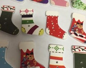 12 Adorable Wooden Crafting Buttons Stockings Fun and Colorful