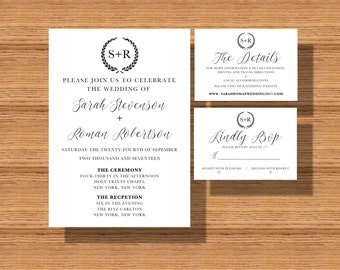 Printable Wedding Invitation Suite, Wedding Invite Set , The Monogramed Wedding Suite, Wedding Invitations with The Details and RSVP Card
