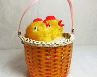 Wind Up Peek-A-Boo Chicks in a Basket, Yellow Fuzzy Chicks, vintage mechanical toy