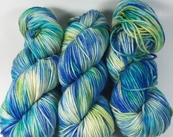 Trevor Morgan DK, Hand Dyed Yarn, DK weight, Superwash Merino, Number 3, 8 ply, Hand dyed, Light Worsted, 100g, In The Deep Blue Sea