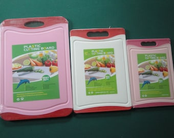Large White And Pink Plastic Cutting Board 3 Set