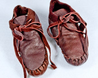 FREE SHIPPING! Vintage Lamb Skin Baby Mocassins Brown Handmade Booties Toddler Doll Shoe 3.5 NEW