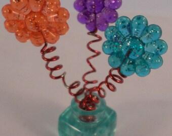 American Girl AG Mini's Illuma Room Green Glass Vase with Wire Flowers NY Loft set