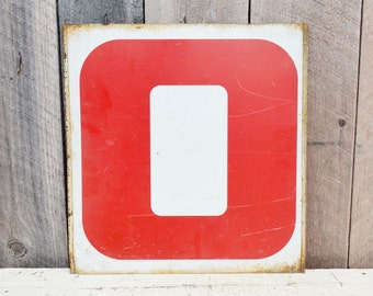 Vintage Metal Numbers 0 & 8 Zero Eight Gas Station Sign Red White Service Station Double Sided Industrial Garage